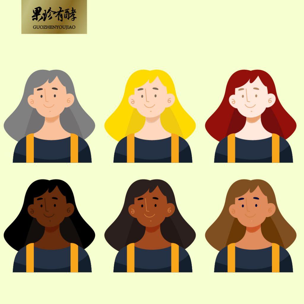 各種髮色示意圖